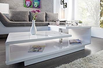 Dunord Design Couchtisch Sofatisch Level 100cm Weiss Hochglanz Retro