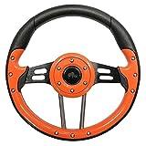 RHOX Golf Cart Steering Wheel - Aviator 4, 13'' Diameter (Orange Grip/Black Spokes)