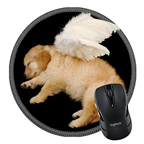 Angel Costume Without Halo (MSD Natural Rubber Mousepad Round Mouse Pad/Mat: 3239335 innocent puppy wearing angel wing)