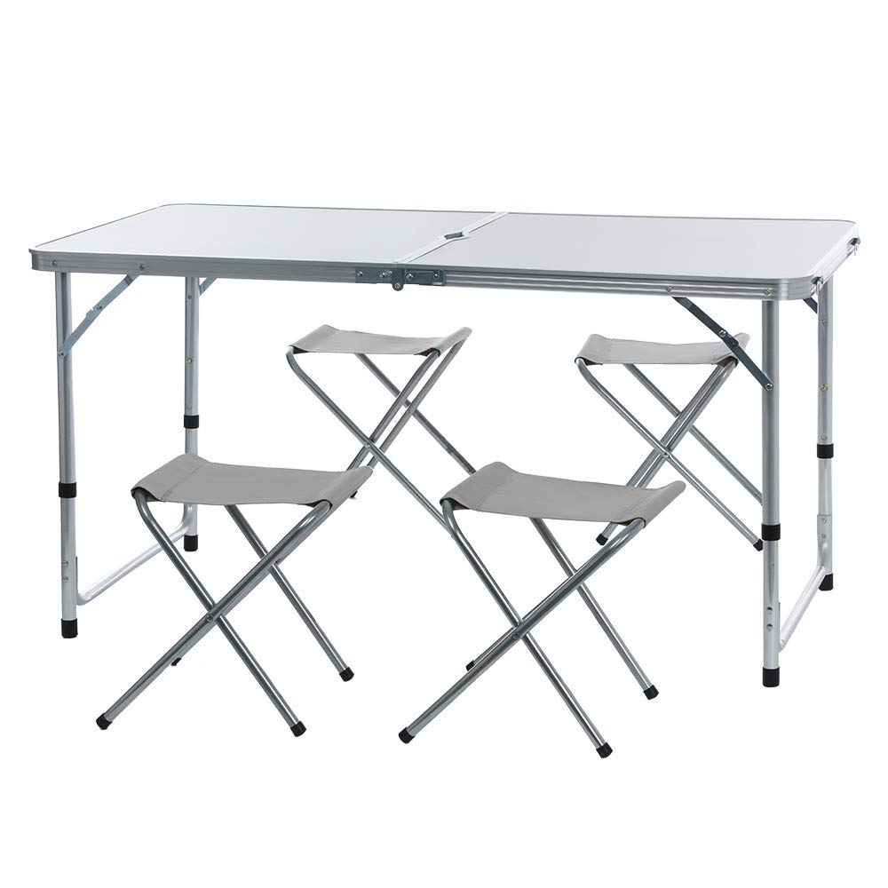 Lookvv Camping Tables Folding Picnic Table with 4 Chairs Portable and Lightweight, for Outdoor,Camping,BBQ,Party and Dining White by Lookvv Home & Kitchen