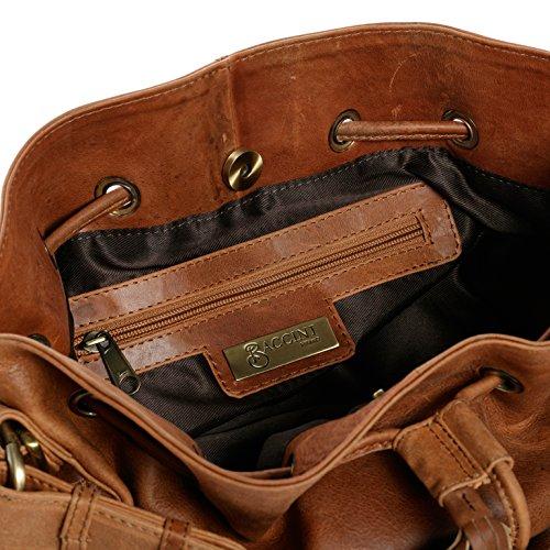 piel Bolso hobo Castaño marrón Bolso BACCINI® Bolso STELLA luna nbsp;coñac hombro con forma 5XO5qzwp
