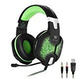 KOTION EACH G1000, 3.5mm PC Stereo Gaming Headset with in-line Mic, Integrated Microphone, Over-ear fit with Noise isolation, Integrated Breathing LED Light, For Laptops or Computers (Green)