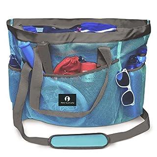 Red Suricata Large Mesh Beach Bag – Beach Bags and Totes (Celeste Light Blue/Grey)