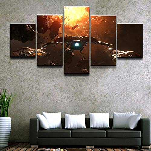JESC Modern Wall Art Canvas Print Painting Frame Modular Poster 5 Piece  Game Star Citizen Asteroid Space Spaceship Home Decor Picture