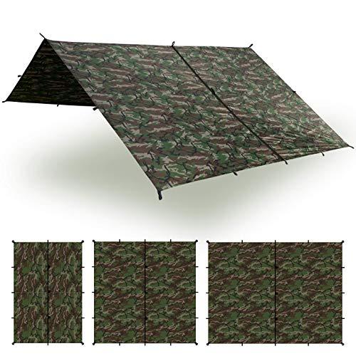Aqua Quest Safari Tarp - 100% Waterproof Lightweight SIL Nylon Bushcraft Camping Shelter - 10x7 Camo (Multicam Mountain Hybrid)