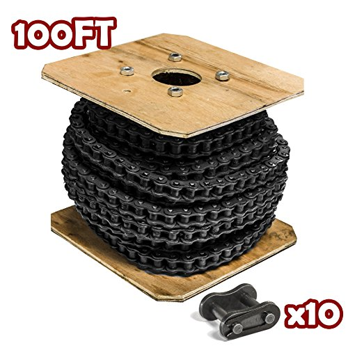 Donghua ANSI #25 Single Strand Roller Chain 100FT Roll, With 10 Connecting/ Master Link, Sports Utility Bike/Vehicle Chain Replacement