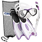 Cressi Palau Long Fins, Focus Silicone Mask, Dry Snorkel, Net Mesh Snorkeling Bag Snorkel Set, Designed and Manufactured in Italy (Lilac, S/M | (Mens 4-7) (Womens 5-8))