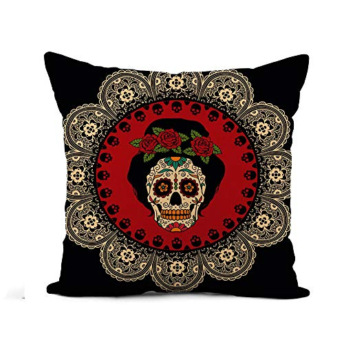 Awowee Flax Throw Pillow Cover Yellow Day Mexican Skull Girl Dead Tattoo Catrina Sugar 20x20 Inches Pillowcase Home Decor Square Cotton Linen Pillow Case Cushion Cover