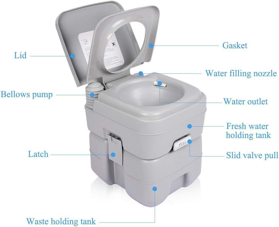 BITUXX® Tragbare Campingtoilette Reise WC mobile Chemietoilette Campingklo 20L