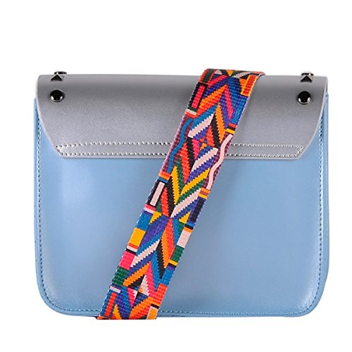 100 strap Genuine in bag Italy BORDERLINE Made shoulder EDITION Leather fabric Clutch Blue Silver and with LIMITED ARIANNA in studs colored x0Aq0rZwF