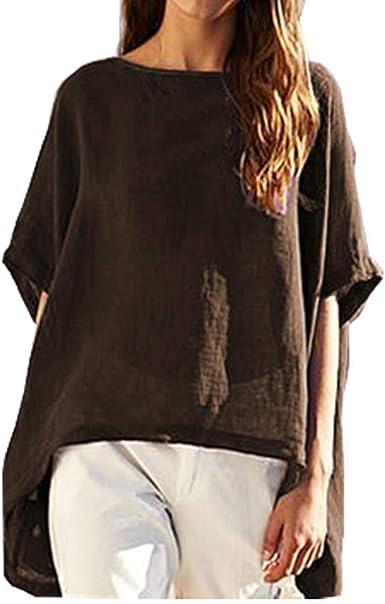 VEMOW Camisetas para Mujer Sólido Verano Manga Cortas Casual ...
