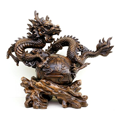 GL&G Lucky Dragon Resin Crafts living room Home Decorations office Tabletop Scenes Ornaments Collectible High-end Business gift,A,391633cm by GAOLIGUO