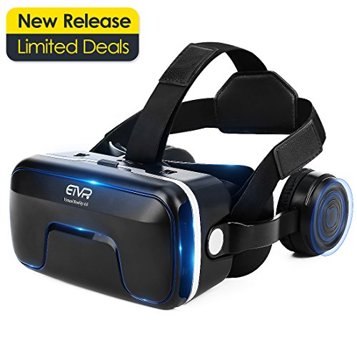 ETVR 3D VR Glasses Virtual Reality Headset for 3D Movies & VR Games with Stereo Adjustable Headphone Compatible with All iPhone/Android Smartphones within 4.7-6.0 Inches