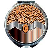 Rikki Knight Letter''C'' Orange Leopard Print Stripes Monogram Design Round Compact Mirror