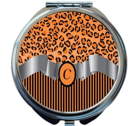 Rikki Knight Letter''C'' Orange Leopard Print Stripes Monogram Design Round Compact Mirror by Rikki Knight