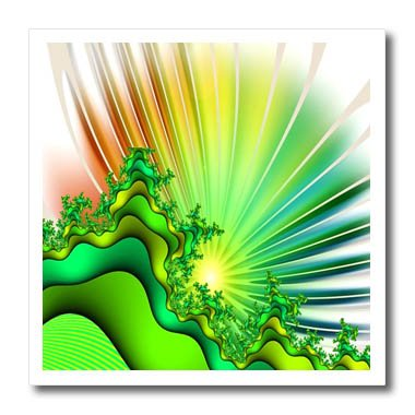 3dRose Fractal Abstracts - Image of Fractal Abstract Sunshine In Green Yellow Rays - 8x8 Iron on Heat Transfer for White Material - Rays 8 Apparel