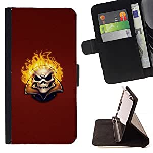 DEVIL CASE - FOR Samsung Galaxy S5 V SM-G900 - Flaming evil Skull - Style PU Leather Case Wallet Flip Stand Flap Closure Cover