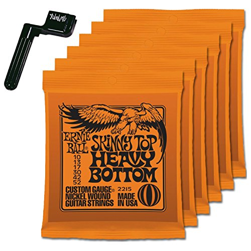 6 Sets of Ernie Ball 2215 Skinny Top Heavy Bottom 10-52 Guitar Strings FREE Peg Winder