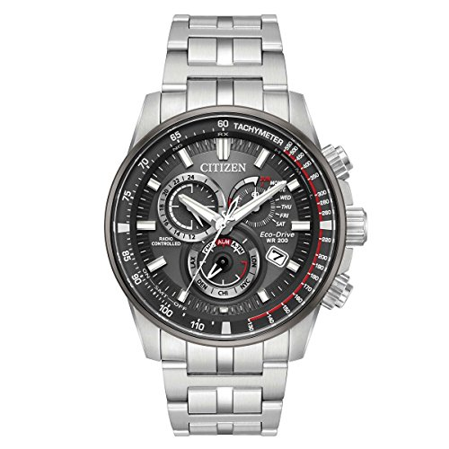Drive World Timer Mens Eco - Citizen PCAT Grey Dial Stainless Steel Men's Watch AT4129-57H