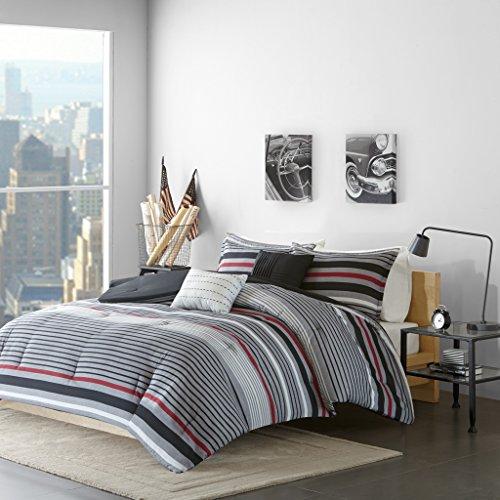 Intelligent Design Christopher Full/Queen Comforter Set Teen Boy Bedding - Grey, Red, Stripes – 5 Piece Bed Sets – Ultra Soft Microfiber Bed Comforter
