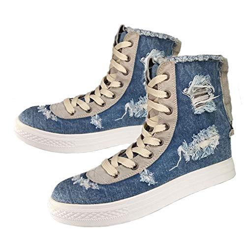 (EpicStep Women's Blue Vintage Casual Denim Zip Lace Up High Tops Platform Wedges Shoes Fashion Sneakers 7 M US)