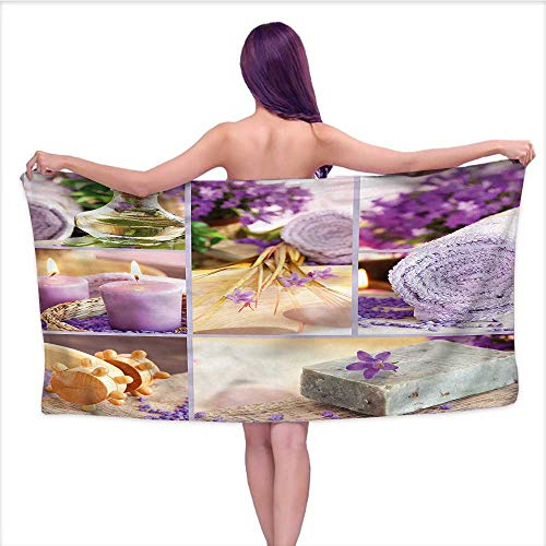 Ediyuneth Luxury Hotel & Spa Bath Towel Spa,Lavender Theme Relaxing Flowers,W10 xL39 for Bathroom Striped]()