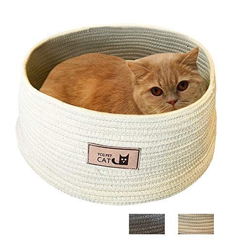 BLLKE Cat Bed Basket Nest Cotton Rope Woven Warm Medium Pet Sleeping Bed House Nesting Rest Cute Fun Scratcher Mat Pad Puppy Small Dogs (Beige) ()