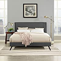 Modway Camille King Fabric Platform Bed with Round Splayed Legs in Gray
