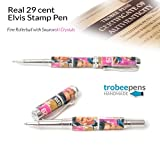 Handcrafted Elvis Stamp Pen - REAL 29 cent stamps encased in clear acrylic Rollerball Swarovski Crystals