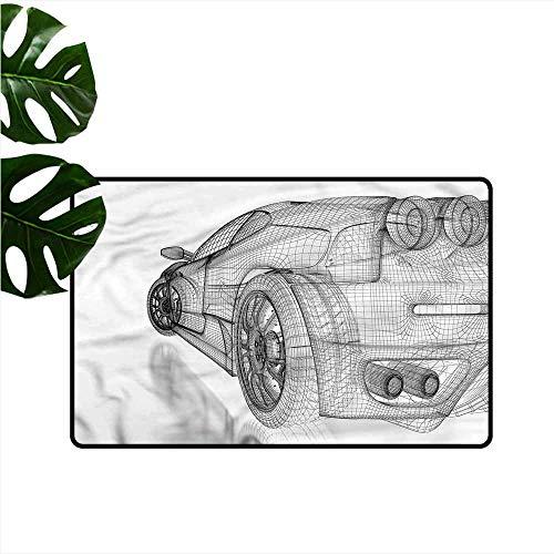 HOMEDD Custom Doormat,Cars Digital Draft High Technology,Super Absorbs Mud,24