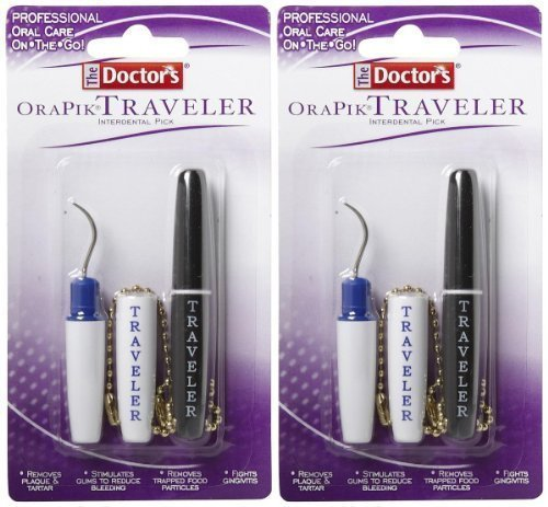 The Doctor's Orapik Traveler Interdental Pick | Assorted Colors | 2-Count per Pack | 2-Pack