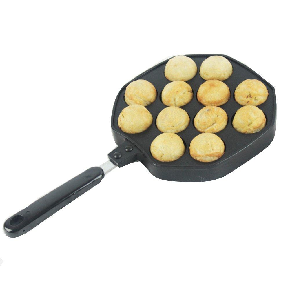 ELEOPTION Takoyaki Pan 12 Holes Octopus Balls Aebleskiver Grill Tray Mold Baking Plate Pan DIY Kitchen Cooking Tool (For Octopus Balls, 12Holes)