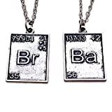 TV Inspired Br Ba. 2 x Periodic Table Silver Tone Pendant Necklace