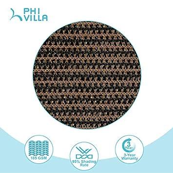PHI VILLA Sun Shade Sail Rectangle 8 x10 Coffee Patio Canopy Cover – UV Bloack – for Patio, Garden, Yard, Pergola
