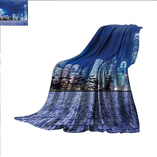 (smallbeefly Urban Throw Blanket Hong Kong Skyline Night Architectural Cityscape Skyscrapers Modern Photo Velvet Plush Throw Blanket 90