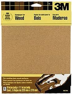 3M Garnet Sandpaper, 100 Medium-Grit, 9-in by 11-in, 5-Sheets