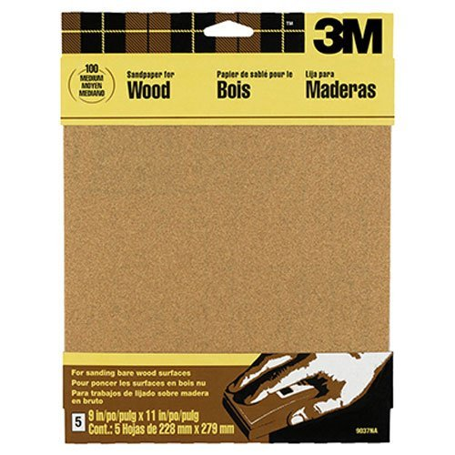 3M Garnet Sandpaper, 9-Inch by 11-Inch, Assorted-Grit, 5-Sheet - 9040NA