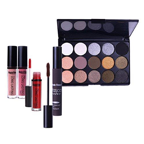 NICOLE DIARY Christmas Makeup Kit - 1Pc mattee Liquid Lipstick + 1Pc Brown Curling Eyelash Mascara + 15 Colors Eyeshadow (11 colors shimmer & 4 colors matte) Makeup Gift Set #2
