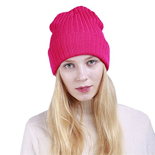 ACVIP Women's Candy Color Knit Crochet Beanie Skull Cap Hip Hop Hat (Rose Red) (Red Ladies Candy Cap)