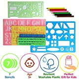 Letter Stencils Set for Kids - 4 Alphabet Letters Number Stencils Large and Small 2 Geometric Figures Stencils and Spirograph - Plastic Kid Art Stencil for Painting - Preschool ABC Stencils for Craft