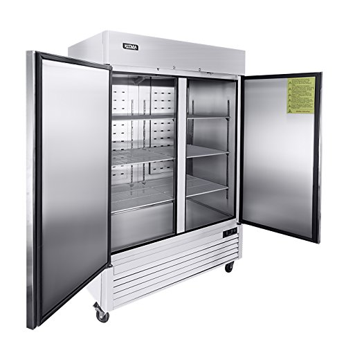 (Kitma 54'' 2 Door Side by Side Reach in Commercial Refrigerator - Stainless Steel 49 cu. ft Upright Fridge for Restaurant, 33°F -)