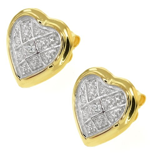 Gem Stone King 2-Tone 925 Sterling Silver Heart Stud Earrings with Accent Diamond 16MM = 1-2inches