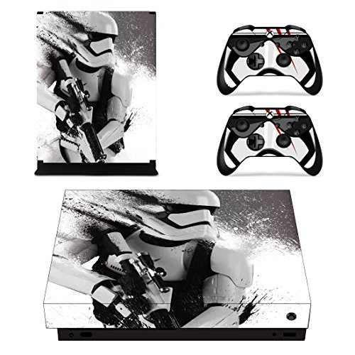 Vanknight Xbox One X Console Remote Controllers Skin Set Vinyl Skin Decals Sticker Cover for Xbox One X(XB1 X) Console