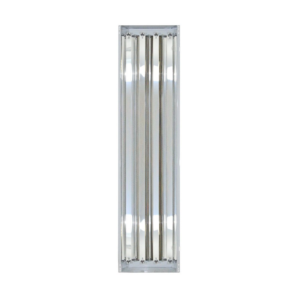 Four Bros Lighting 4-lamp T8 High Bay Fluorescent Lighting Fixture - 32W 10,000 Lumens Bulbs Included - Universal Voltage 120-277V - For Ceilings Below 15 Feet - DLC Premium & UL Listed - Commercial G