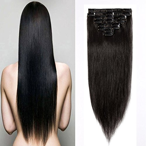 in Human Hair Extensions #1B Natural Black 16-22inch Grade AAAAA Natural Hair Full Head Standard Weft 8 Pieces 18 Clips Long Straight for Women Fashion 18