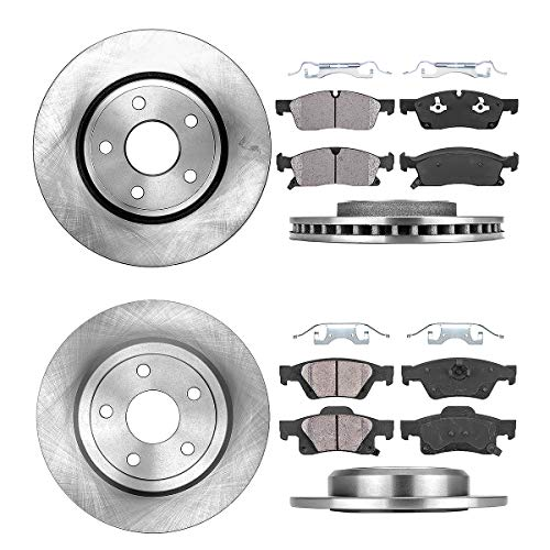 FRONT 330 mm + REAR 330.03 mm Premium OE 5 Lug [4] Rotors + [8] Quiet Low Dust Ceramic Brake Pads + Clips