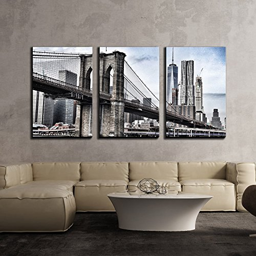 - wall26 - 3 Piece Canvas Wall Art - Brooklyn Bridge in Vintage Color,New York - Modern Home Decor Stretched and Framed Ready to Hang - 24