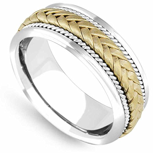 14K Two Tone (White and Yellow) Gold Braided Wicker Style Men's Wedding Band (8mm) Size-16.5c2