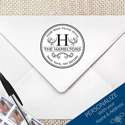 (Flourish & Swirl Elegant Return Address Monogram Stamp | MS-R23)