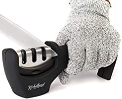 2-in-1 Kitchen Knife Accessories: 3-Stage Knife Sharpener Helps Repair, Restore and Polish Blades and Cut-Resistant Glove